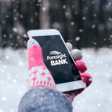 Smart phone in snow